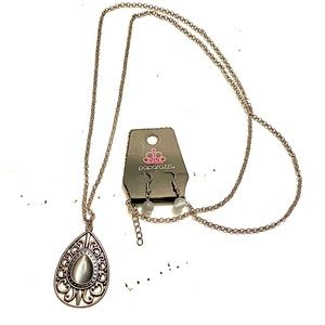 PAPARAZZI Necklace Earrings SET Silver Gray